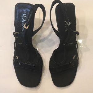 Women's Italian Prada Black Leather Heels. 36 1/2